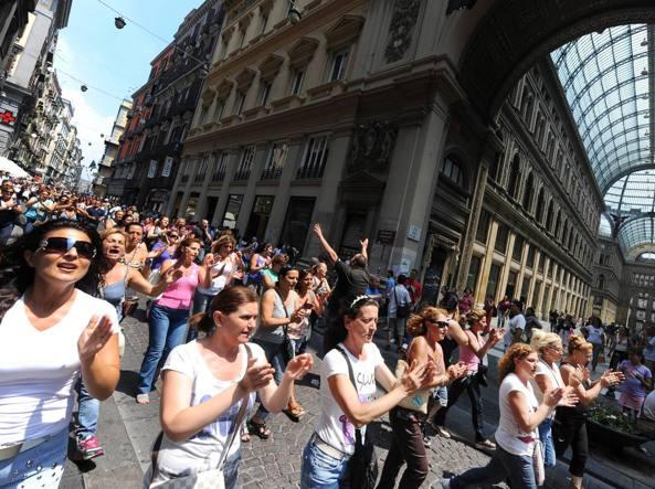 Manifestazione di disoccupati a Napoli (archivio Ansa)