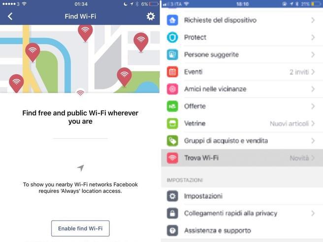 Facebook, la mappa per trovare i wifi gratis arriva anche in Italia