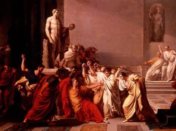 Morte di Giulio Cesare, un dipinto del 1806 dell'artista Vincenzo Camuccini (1771-1844)