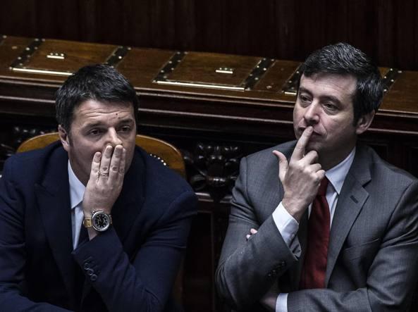Matteo Renzi, Andrea Orlando e Paolo Gentiloni (Ansa)