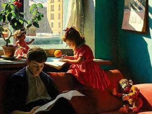 Alexander Laktionov (1910-1972), Visiting my grandmother (1930, olio su tela, collezione privata)