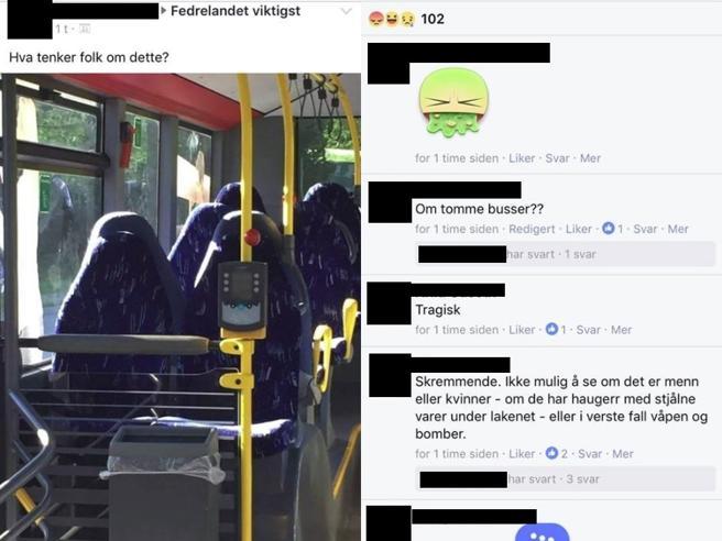 «Invasione di  donne in burqa» Ma sono solo i sedili di un bus