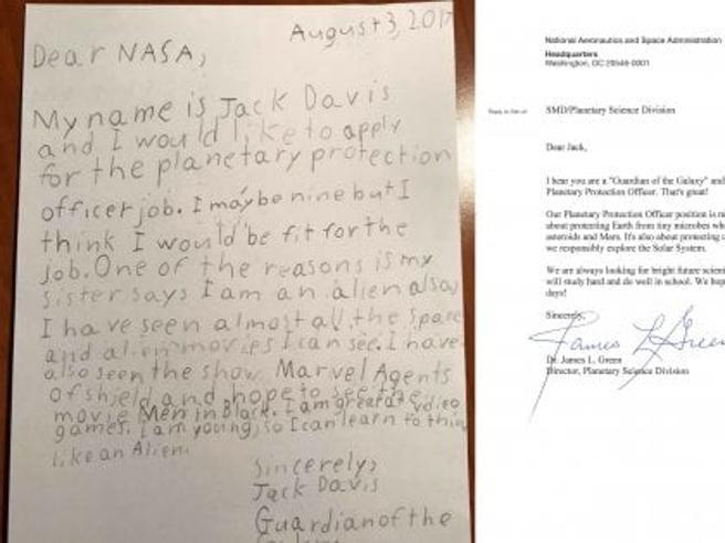 Jack, 9 anni, si candida come «guardiano della Galassia»: e la Nasa gli risponde