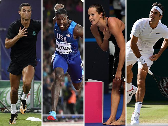 Esperienza Da sinistra: C. Ronaldo, 32; Justin Gatlin, 35; Federica Pellegrini, 29; Roger Federer, 36