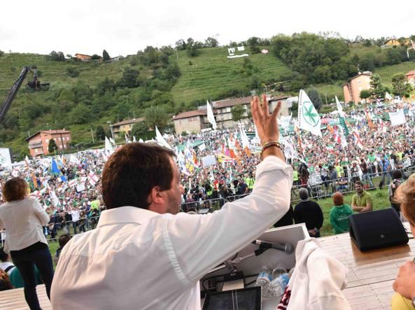 Matteo Salvini a Pontida nel 2016 (Cavicchi)