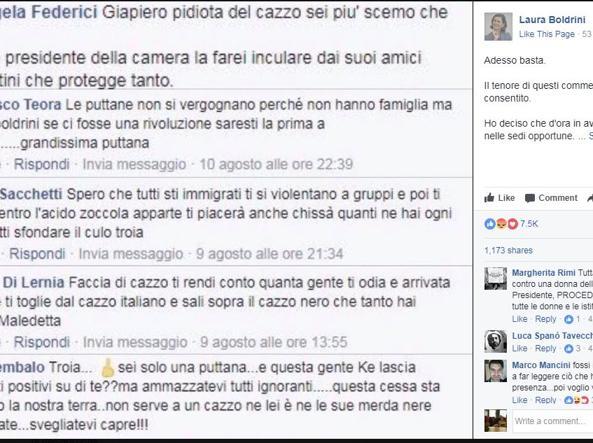 Il post di denuncia della presidente della Camera, Laura Boldrini (Facebook)