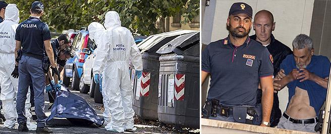 L'uscita dalla Questura di Maurizio Diotallevi, accusato di omicidio e occultamento di cadavere della sorella