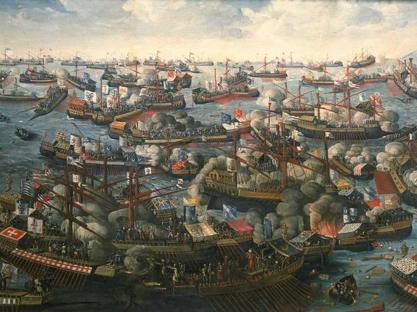 Un dipinto di un'autore sconosciuto (National Maritime Museum, Londra) che rappresenta la battaglia di Lepanto del 1571