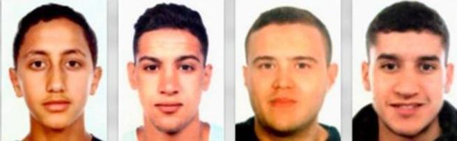 Nella prima immagine, Moussa Oukabir,  il presunto autore della strage sulle Ramblas. Nella altre foto tre presunti complici