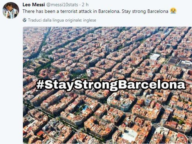 Attentato Barcellona, il cordoglio su Twitter, da Trump a Messi: «StayStrongBarcelona»