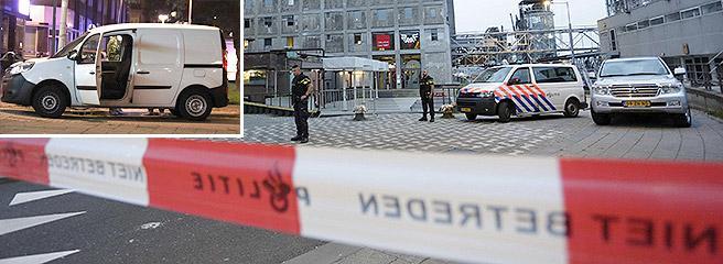 La zona del concerto isolata dalla polizia e, nel riquadro, il van arrivato dalla Spagna e contenente bombole di gas