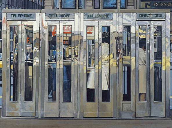 Richard Estes (Stati Uniti,1932), «Telephone Booths »(1968, acrilico su masonite), Madrid, Museo Thyssen-Bornemisza, courtesy dell'artista