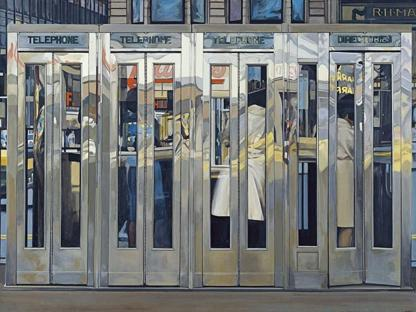 Richard Estes (Stati Uniti,1932), «Telephone Booths» (1968, acrilico su masonite), Madrid, Museo Thyssen-Bornemisza, courtesy dell'artista