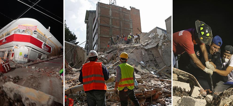 A sinistra una foto  di Città del Messico dopo la scossa.