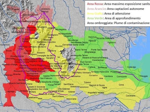Mappa della contaminazione: la zona barrata a nord e arancio è all'origine della contaminazione, la zona rossa è quella di massima esposizione sanitaria, la gialla è area di attenzione, la verde area di approfondimento (Fonte Oms)