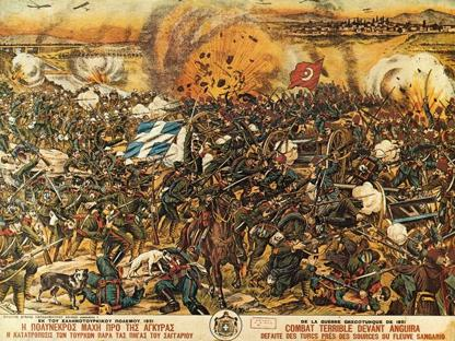 La battaglia che si svolse nel 1921 presso il fiume Sakarya o Sangarios, una delle più importanti di quel duro conflitto