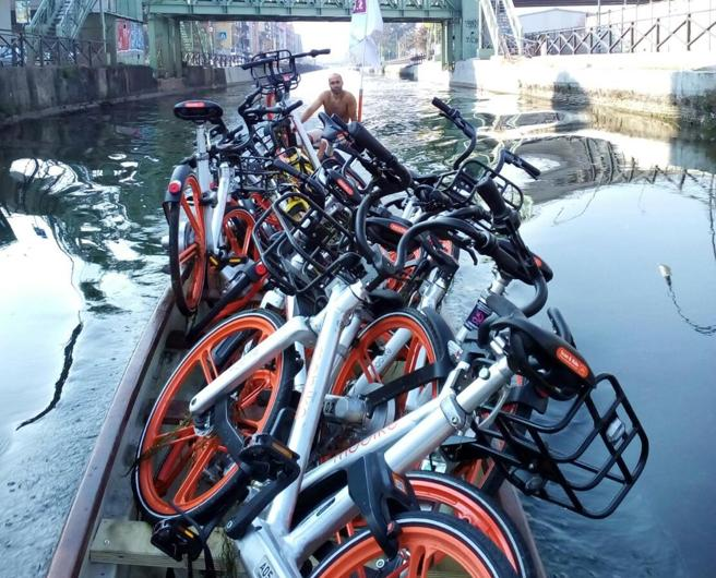 Milano, ripescate con la canoa le bici  nel Naviglio Foto|Video