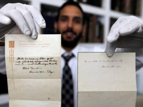 Vendute per 1,5 mln di euro due note originali di Albert Einstein