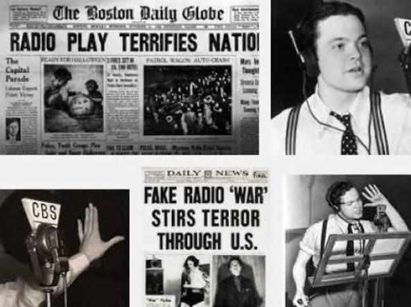 Il panico scatenato da Orson Welles con il suo  un finto comunicato radiofonico su  uno sbarco  degli alieni in America. Era il 1938