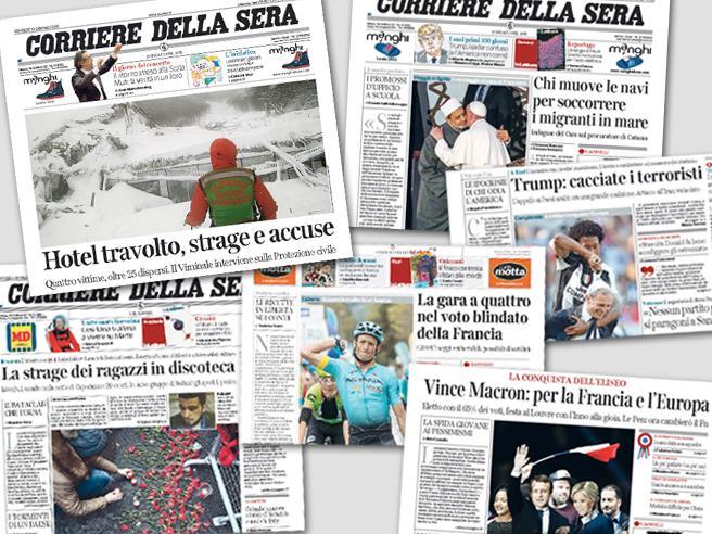 Gli eventi più importanti del 2017 nelle prime pagine del Corriere della Sera