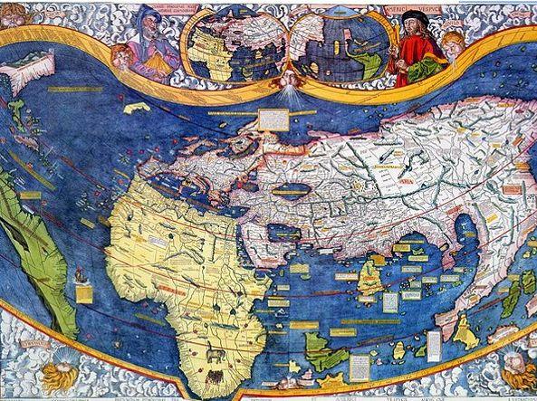 La mappa di Martin Waldseemüller (1507) che tiene conto dei resoconti di viaggio di Amerigo Vespucci: in questa mappa compare per la prima volta il nome America (in onore di Vespucci)