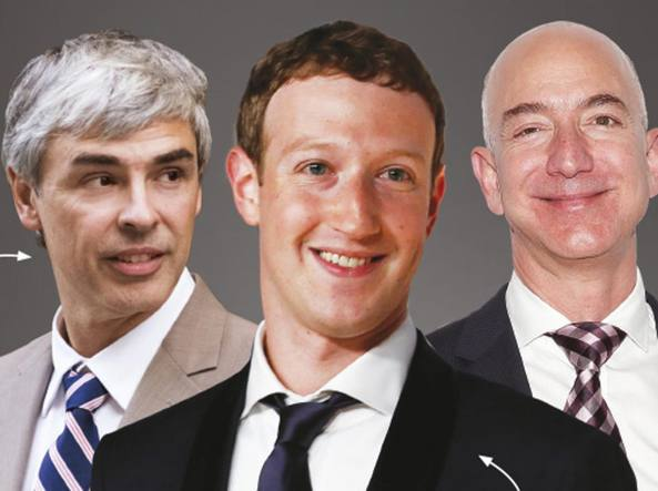 Da sinistra, Larry Page, Mark Zuckerberg e Jeff Bezos