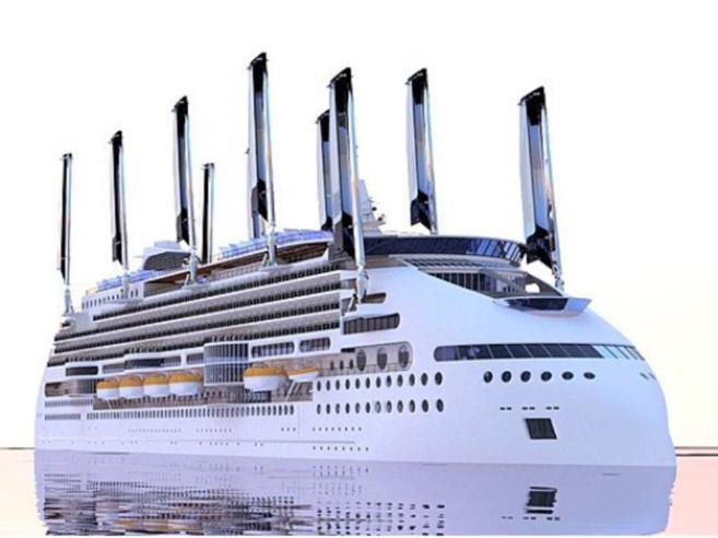La nave da crociera ecologica avrà dieci vele a pannelli solari