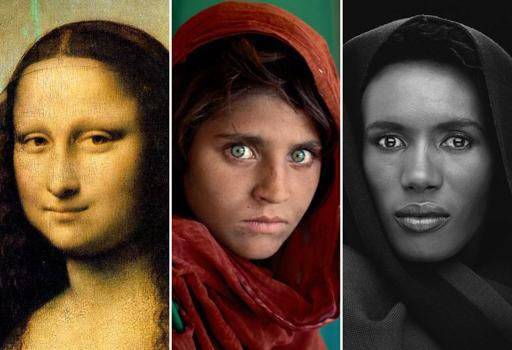 Da sinistra: Leonardo da Vinci, «Gioconda» (1503-19); Steve McCurry, «Ragazza afghana», 1984; Robert Mapplethorpe, «Grace Jones» (1988)