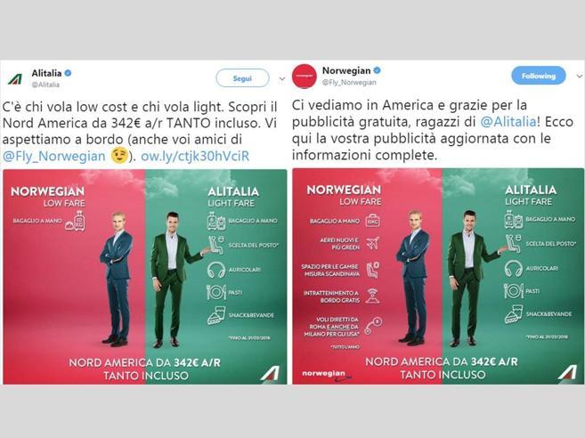 Voli Italia-Usa, guerra sui social tra Alitalia e Norwegian Air