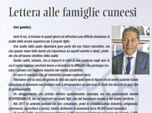 Confindustria Cuneo scrive ai genitori degli studenti delle medie: