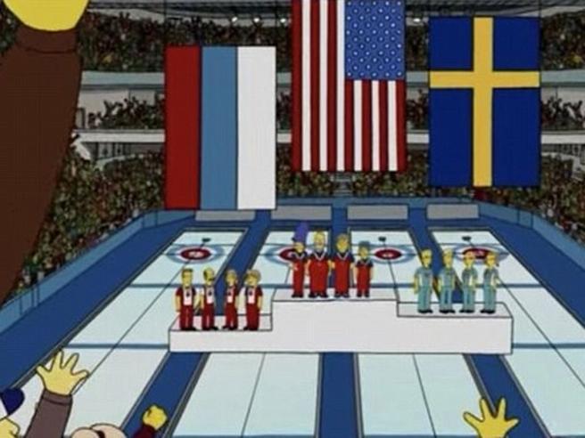 gli Stati Uniti vincono l'oro nel curling, e i Simpson l'avevano previsto