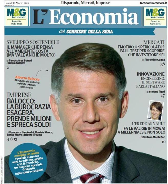 Mr Balocco, la burocrazia esagera, prende milioni e spreca soldi L'Economia oggi gratis in edicola