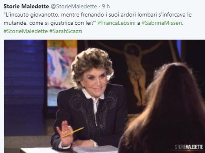 «Storie Maledette», Franca Leosini torna in tv e Twitter impazzisce per lei