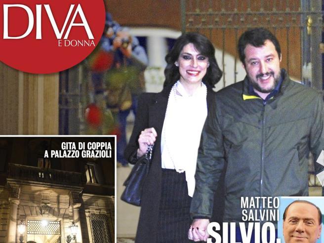 """Matteo Salvini e Elisa Isoardi: l'uscita """"ufficiale"""" per la visita a Berlusconi a palazzo Grazioli"""