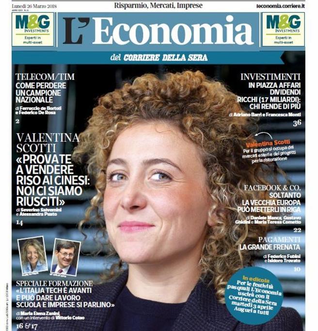 Valentina Scotti: «Cosଠho venduto il riso ai cinesi»L'Economia gratis lunedଠin edicola