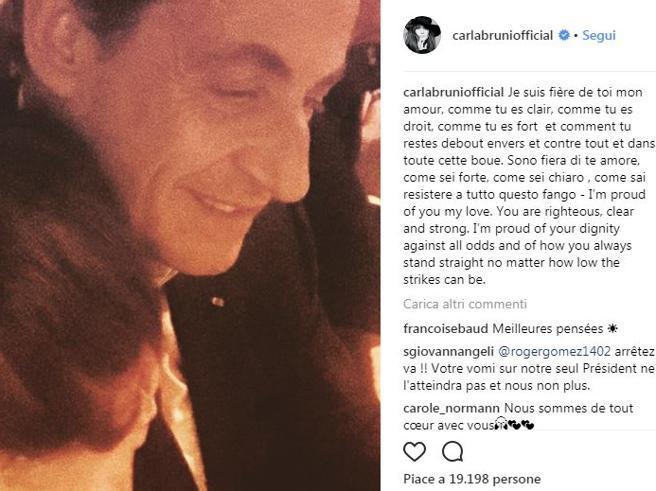 Sarkozy indagato, Carla Bruni su Instagram: «Fiera di te, amore mio»