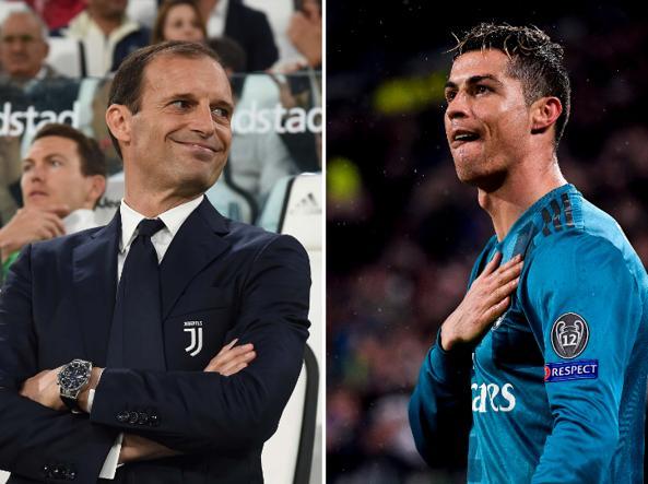 Allegri abbraccia Cristiano Ronaldo alla Juve: