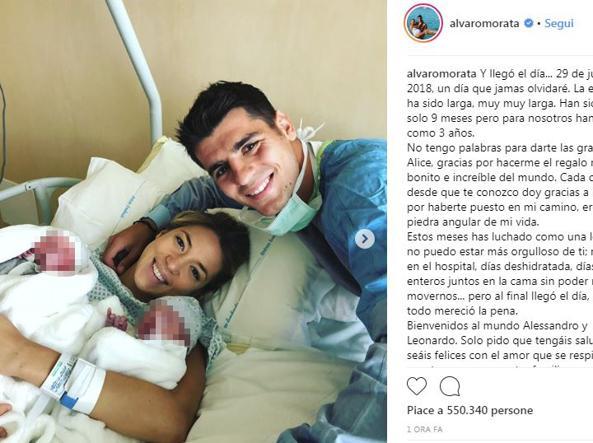 Alvaro Morata è papà di due gemelli: sono nati Alessandro e Leonardo