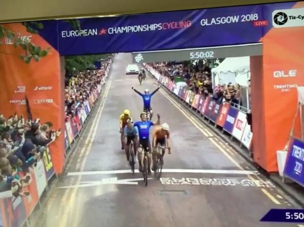 Ciclismo, Trentin vince l'oro degli Europei di Glasgow