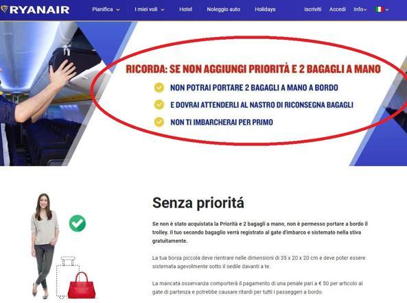 Bagagli a mano, Enac richiama Ryanair: agite con correttezza