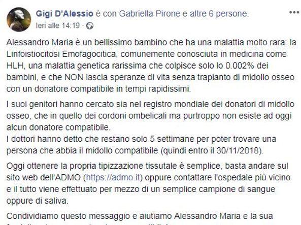 Serve un donatore per salvare Alessandro Maria, sabato mobilitazione a Napoli