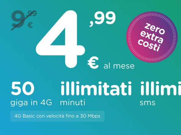 Ho.Mobile propone minuti ed SMS illimitati e 50GB a 4,99€
