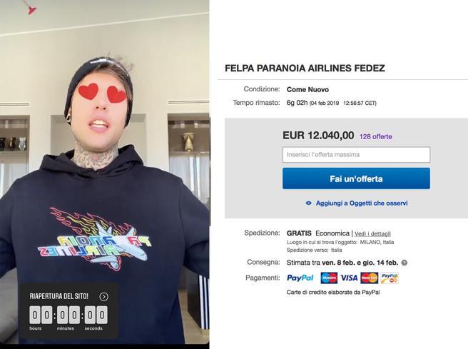 Felpe da 12mila euro, Fedez contro eBay
