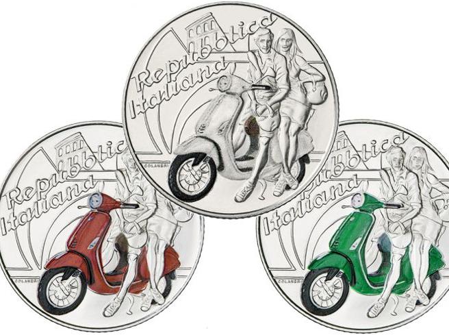 Zecca moneta da 5 euro in argento con la Vespa solo 20000 pezzi