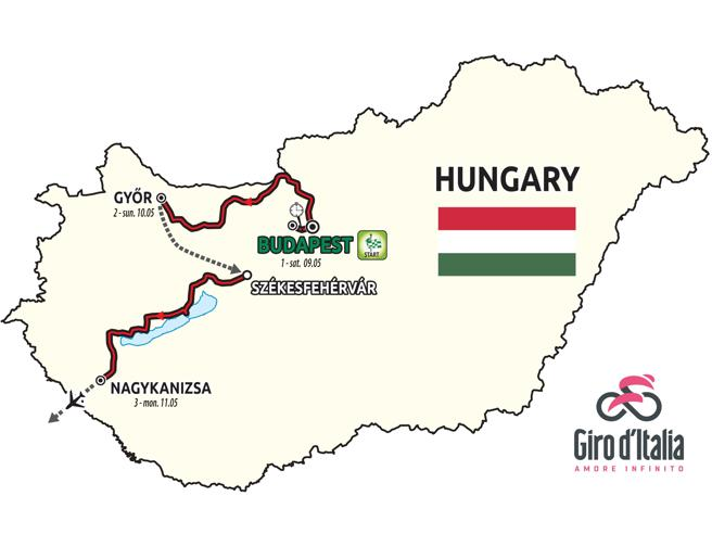 Il Giro d'Italia 2020 in Ungheria, presentate le prime tre tappe