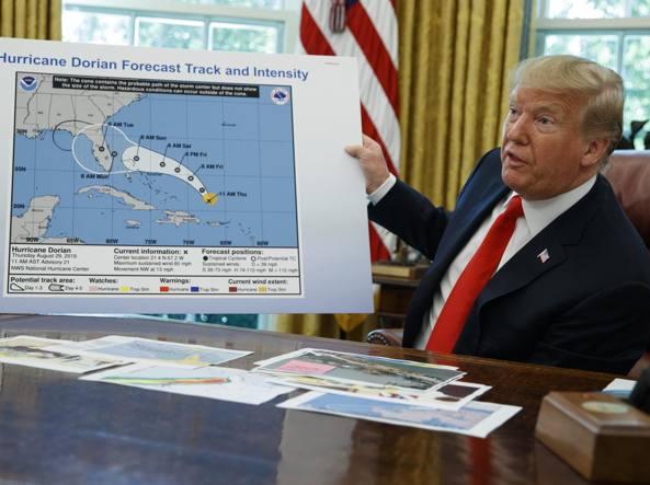 Trump l'Alabama e la traiettoria dell'uragano Dorian modificata