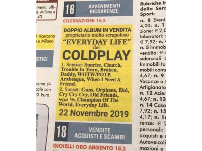 Coldplay, il 22 novembre esce Everyday Life