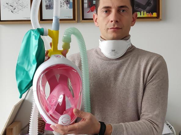 Maschera da snorkeling funziona da ventilatore di emergenza a Brescia