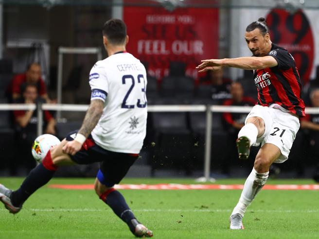 Milan-Cagliari 3-0, in gol Ibra e Castillejo, apre l'autorete di Klavan. Rossoneri re della ripresa