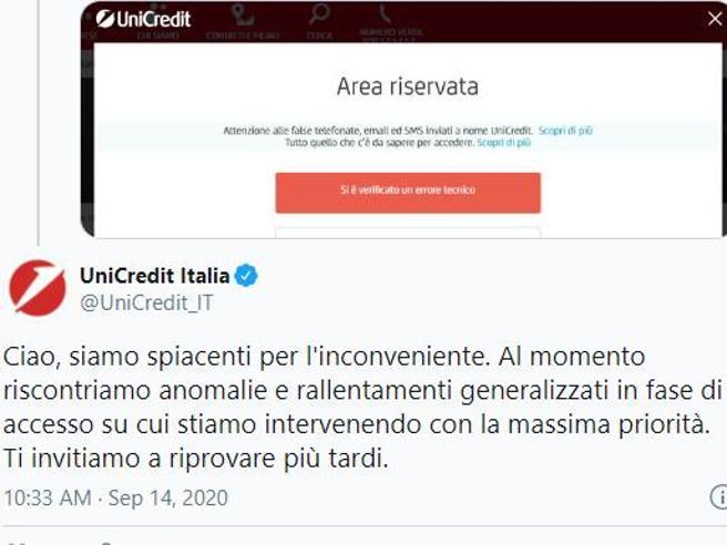 Unicredit down, app bloccata: impossibile accedere all'Home Banking